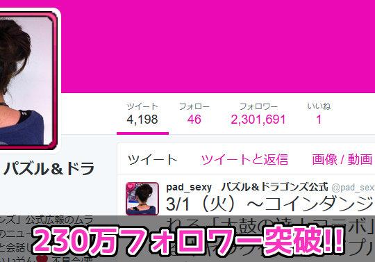 【日本で9位】パズドラ公式Twitter・ムラコのフォロワーが230万を突破!