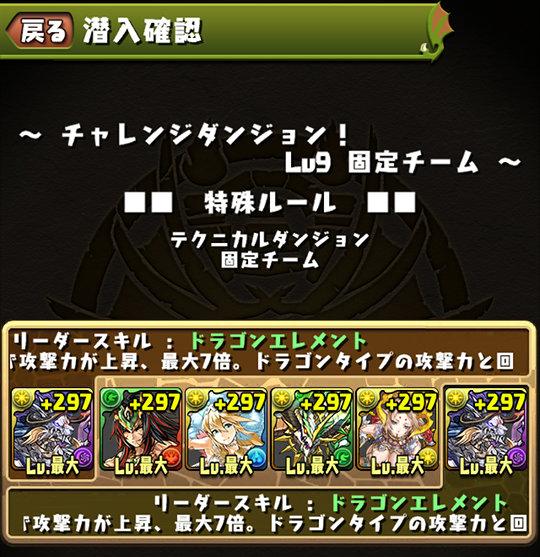 チャレンジダンジョン Lv9 固定チーム