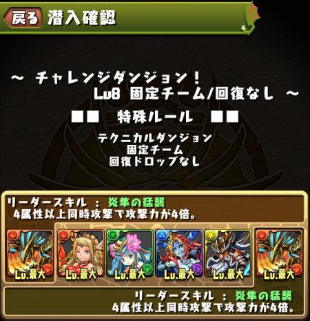 チャレンジダンジョン Lv8 固定チーム