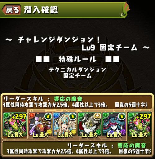 チャレンジダンジョン35 Lv9 固定チーム