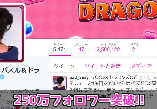 【日本で12位】パズドラ公式Twitter・ムラコのフォロワーが250万を突破!