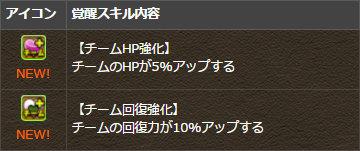 今回から新たな覚醒スキル「チームHP強化」「チーム回復強化」が追加されます。