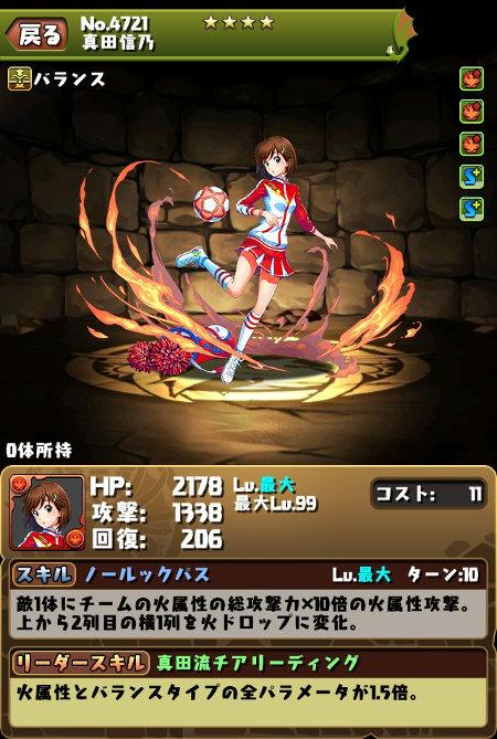真田信乃のステータス画面