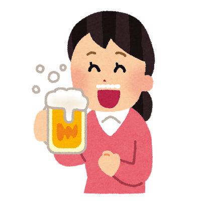 ビールを飲むのっち