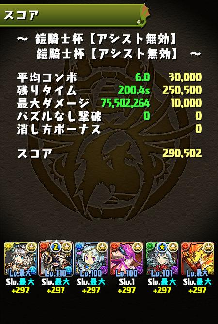 鎧騎士杯 29万0000点