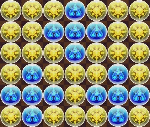 2色陣から少ない方の色で十字3個だけ組む