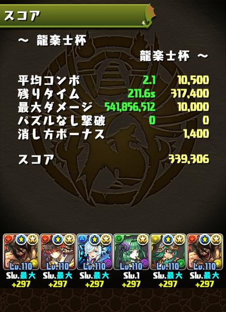 龍楽士杯 33万9000点