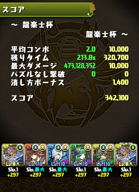 龍楽士杯 34万2000点