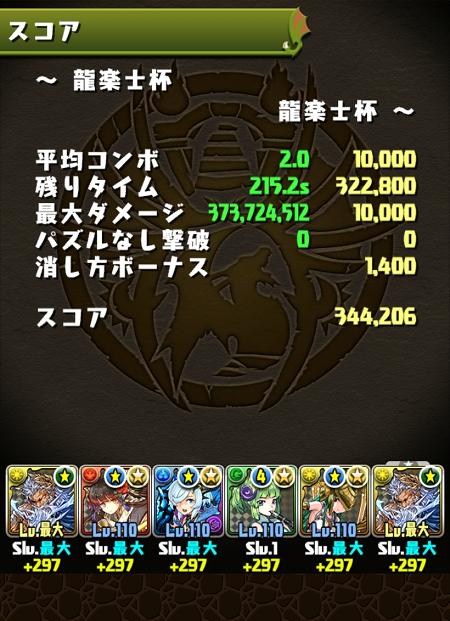 龍楽士杯 34万4000点