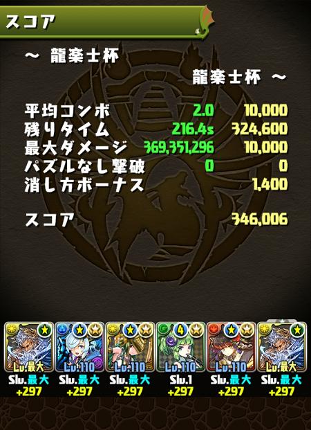 龍楽士杯 34万6000点