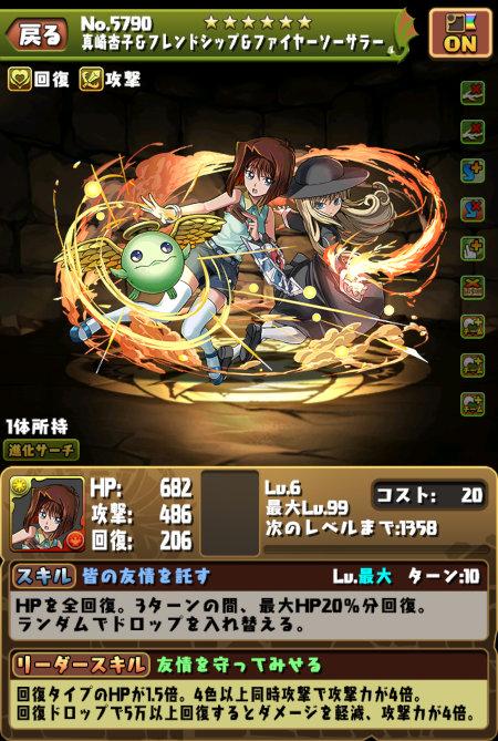 真崎杏子のステータス画面