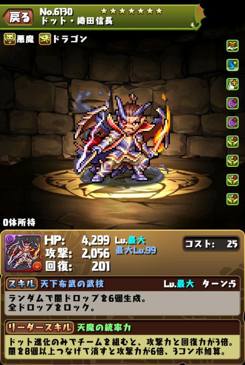 ドット・織田信長のステータス画面