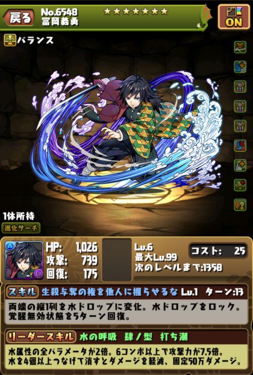 冨岡義勇のステータス画面