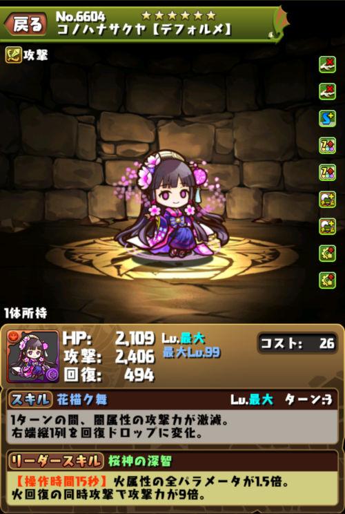 コノハナサクヤ【デフォルメ】のステータス画面