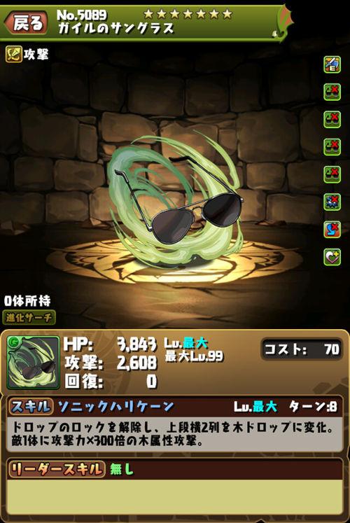 ガイルのサングラスのステータス画面