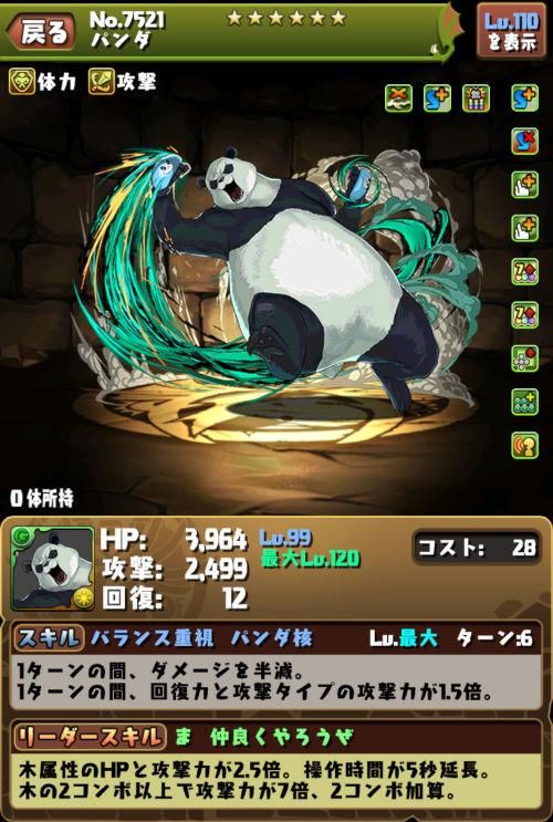 パンダのステータス画面