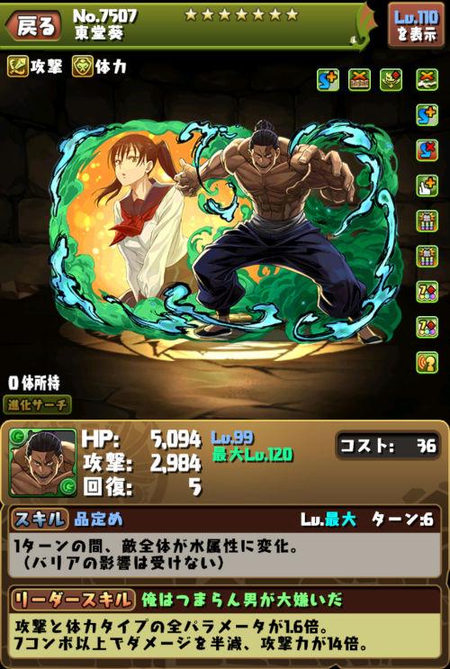 東堂葵のステータス画面