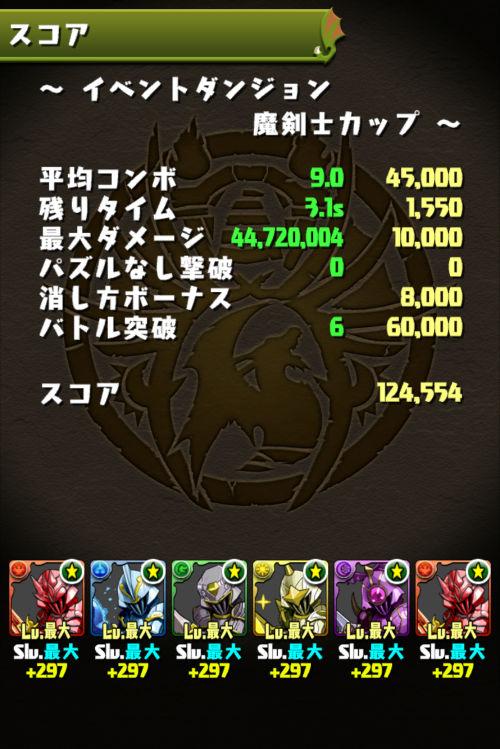 魔剣士カップ 12万4000点