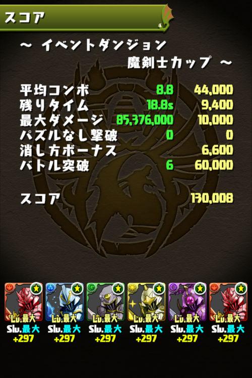 魔剣士カップ 13万0000点
