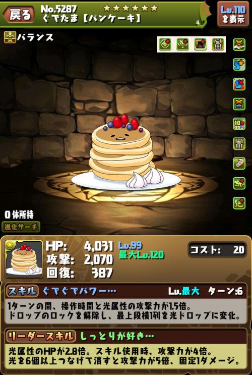 ぐでたま【パンケーキ】のステータス画面