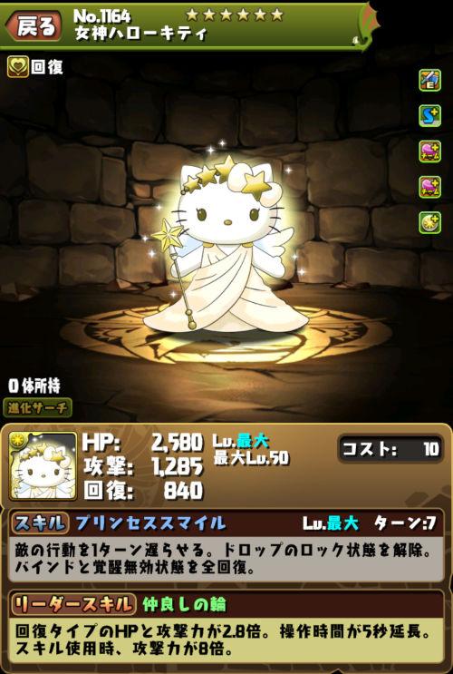 女神ハローキティのステータス画面