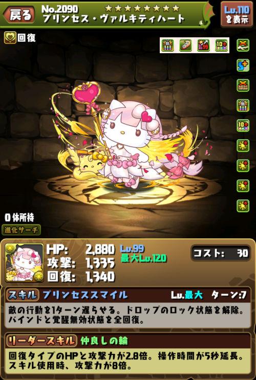 プリンセス・ヴァルキティハートのステータス画面