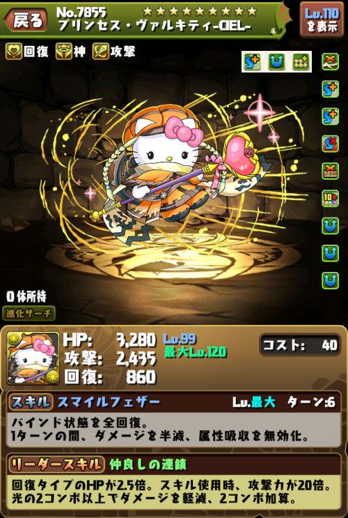 プリンセス・ヴァルキティ-CIEL-のステータス画面