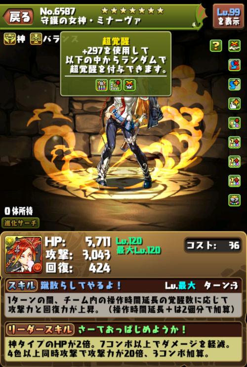 守護の女神・ミナーヴァのステータス画面