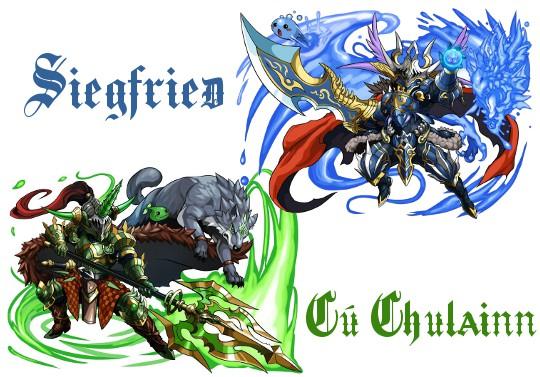 『蒼剣の覇王・ジークフリート』と『碧槍の英雄・クーフーリン』の進化イラストが公開!