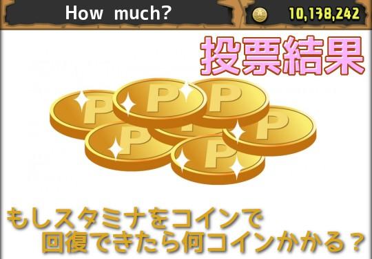 【投票結果】もしスタミナをコインで回復できたら、1スタミナあたり何コインかかる?