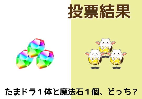 【投票結果】たまドラ1体と魔法石1個、どっちが価値がある?
