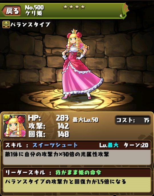 ケリ姫のスキル&ステータス