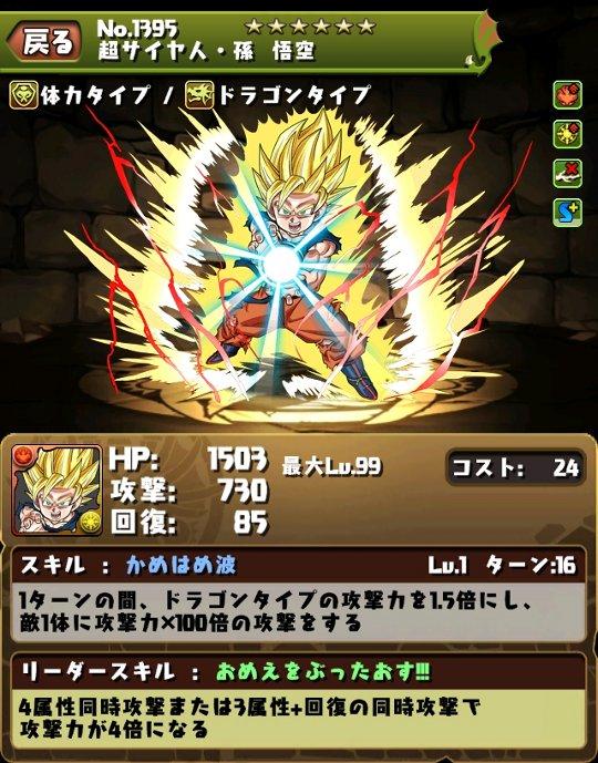 スーパーサイヤ人・孫 悟空のスキル&ステータス