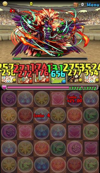 チャレンジダンジョンLv9 1F 十四撃目5コンボ25倍