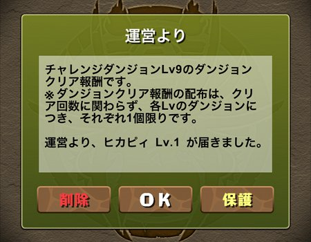 チャレンジダンジョン1Lv9 ヒカピィ