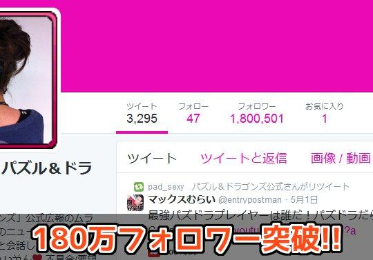 【日本で12位】公式Twitter・ムラコのフォロワーが180万を突破!