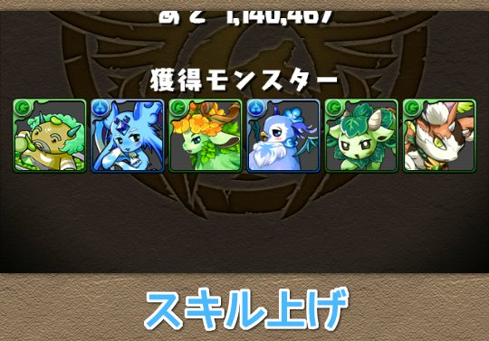 木の猫龍でスキル上げできるモンスターの一覧表