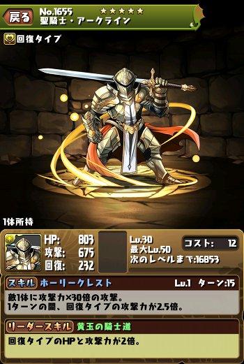 聖騎士・アークライン ステータス画面