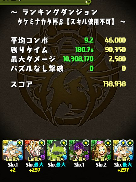 タケミナカタ杯β 覚醒サクヤパ 13万8000点